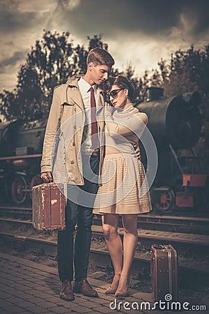 Couple on a train station