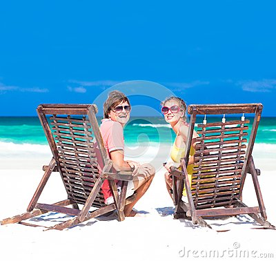 Couple on a tropical beach. Tulum, Mexico,