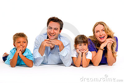Couple with two children