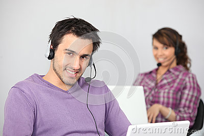 Couple with two laptops