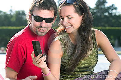 Couple typing text message