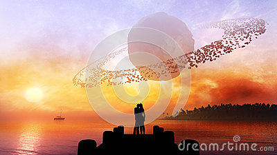 Couple Under Fantasy Sky