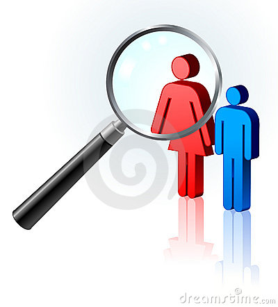 Couple under magnifying glass