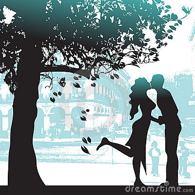 Couple under the tree in city