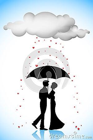 Couple under Umbrella in Love Rain