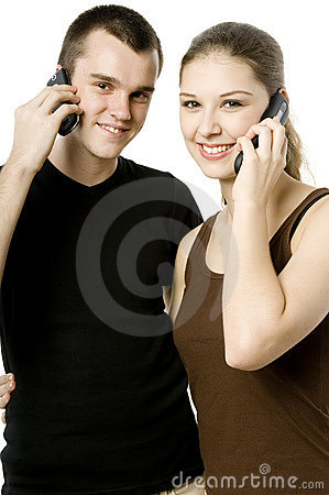 Couple Using Phones