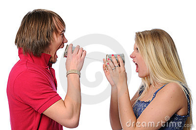 Couple Using Tin Can Phone to scream