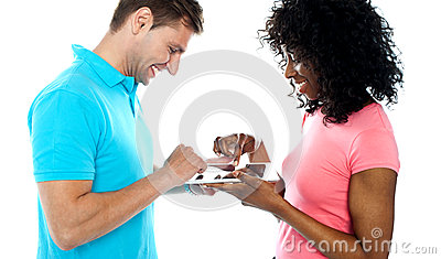 Couple using wireless touch pad device