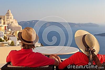 Couple on vacation in Santorini