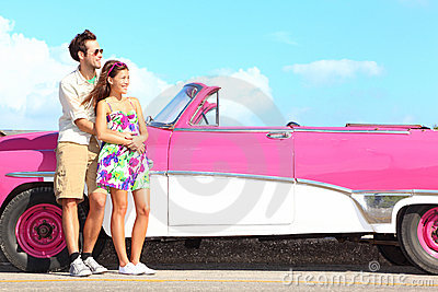 Couple and vintage retro car
