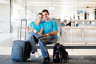 Couple waiting for flight