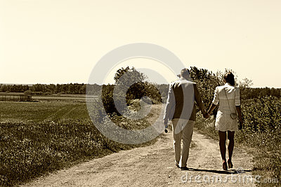 Couple walking away