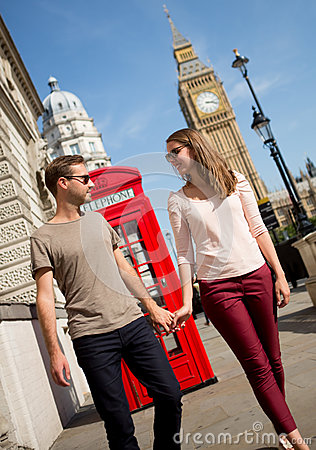 Couple walking in London