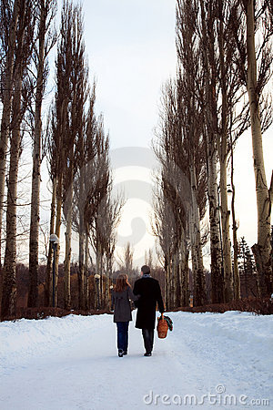 Couple walking through the poplar alley