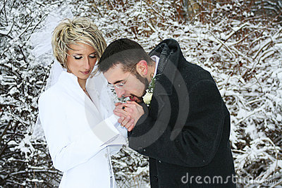 Couple warming up their hands