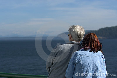 Couple watching ocean