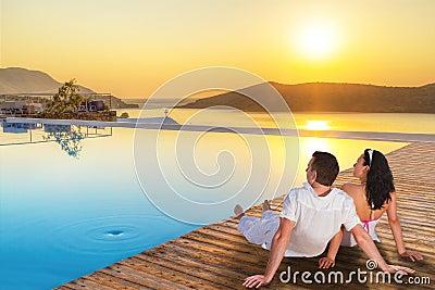 Couple watching together sunrise