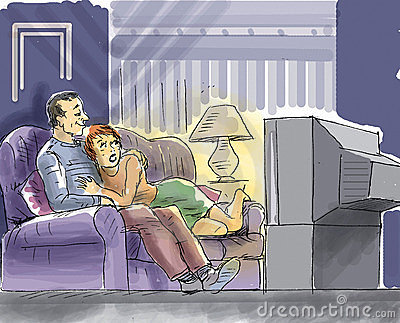 Couple are watching TV