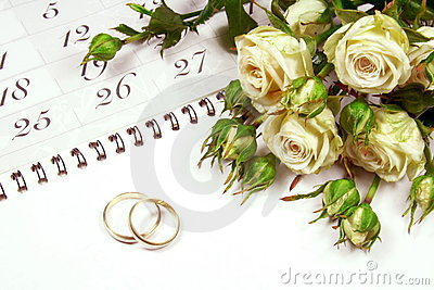 Couple of Wedding Rings on Calender