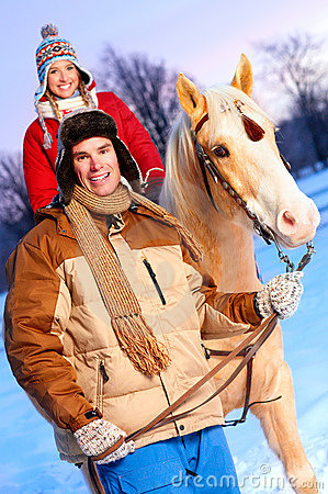 Free Couple With Horse Stock Photography - 7450382