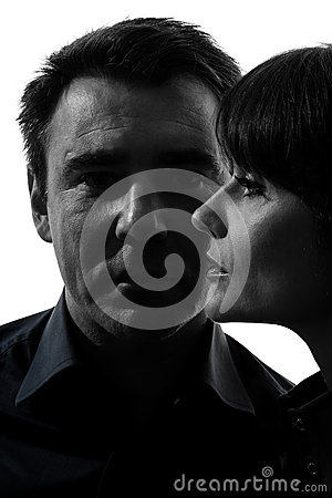 Couple woman man close up portrait silhouette