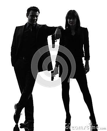 Free Couple Woman Man Detective Secret Agent Criminal Silhouette Royalty Free Stock Photos - 28443488