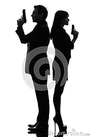 Free Couple Woman Man Detective Secret Agent Criminal Silhouette Royalty Free Stock Photos - 28637748