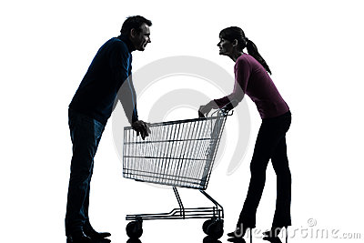 Couple woman man with shopping cart dating flirting silhouette