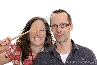 Couple with  wooden spoon