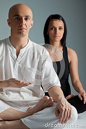 Couple yoga meditation