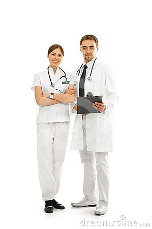 A couple of young Caucasian doctors on white