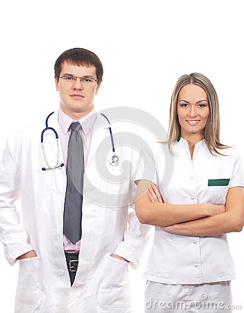 A couple of young Caucasian medical workers