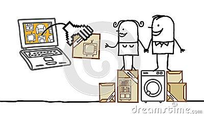 Couples achetant des meubles en ligne photographie stock for Ameublement en ligne