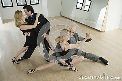 Couples dancing tango