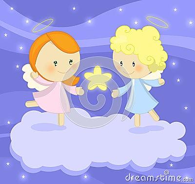 Couples de petits anges mignons retenant une étoile lumineuse