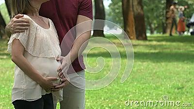 Couples enceintes heureux embrassant, fertilisation réussie de vitro, planification des naissances banque de vidéos