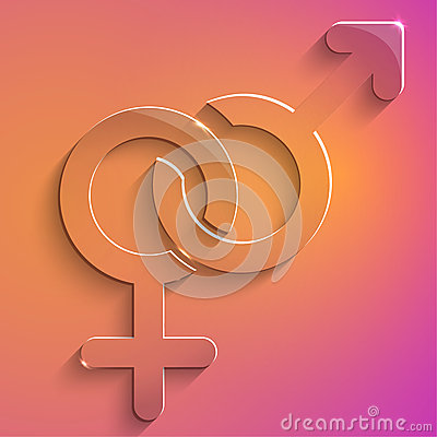 Couples female male sign glass icon  illustration