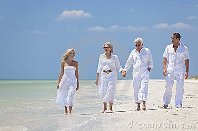 Couples Generations Family Walking Tropical Beach