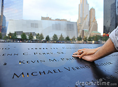 Couples hands laid on September 11 memorial Editorial Photography