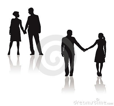Couples holding hands silhouette