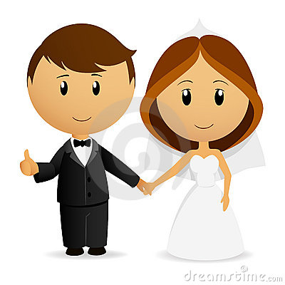 Couples mignons de mariage de dessin animé