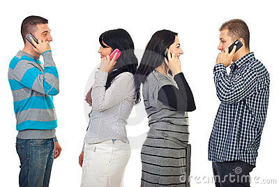 Couples talking by phone mobiles