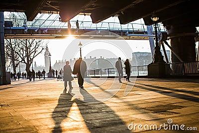 Couples Walking Along South Bank, London Free Public Domain Cc0 Image