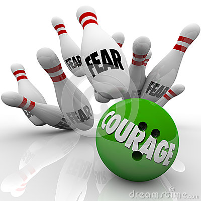 Courage Vs. Fear Bowling Ball Strike Pins Bravery
