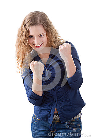 Courageous young girl - woman isolated on white background