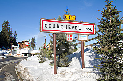 Courchevel road sign, France