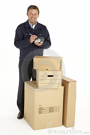 Courier Delivering Parcels Holding Clipboard