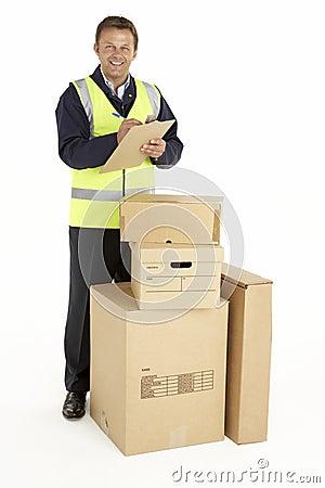 Courier Delivering Parcels Holding Clipboard