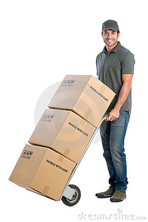 Free Courier Moving Boxes Royalty Free Stock Photography - 22438577