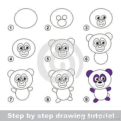 Cours de dessin comment dessiner un panda illustration de - Comment dessiner un enfant ...